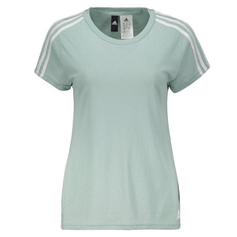e8096d863494a camiseta adidas essentials 3 stripes feminina verde. Carregando zoom.