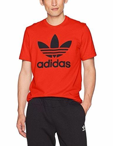 camiseta adidas originals de trefoil naranja  l
