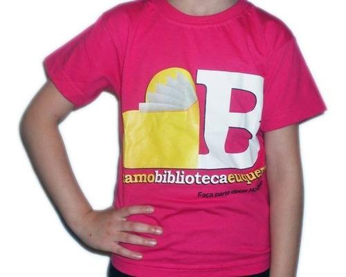 camiseta adulto campanha  eu amo biblioteca eu quero