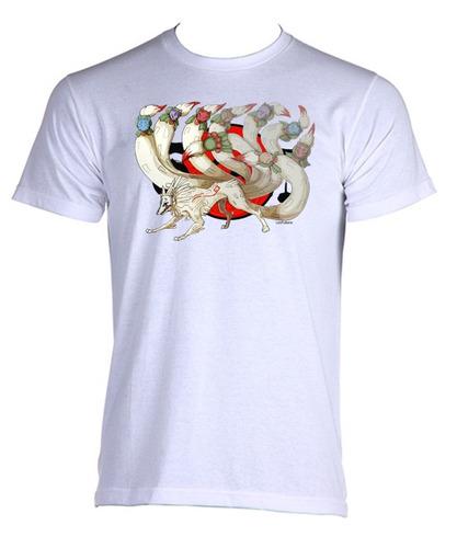 camiseta adulto unissex okami amaterasu nine tales 02