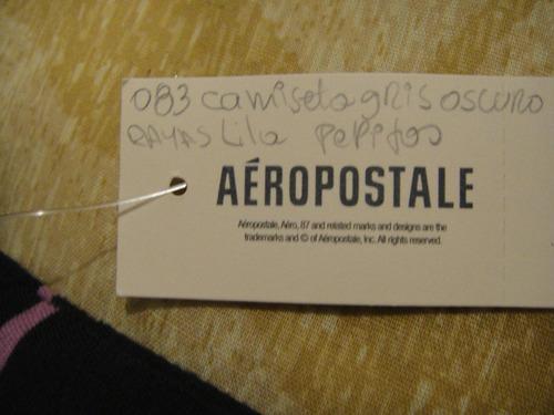 camiseta aeropostale de mujer gris pepitas medium ( 083