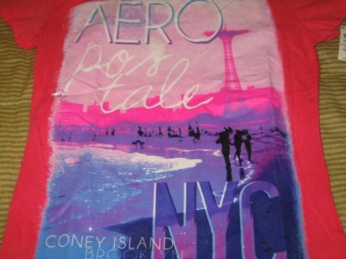 camiseta aeropostale de mujer medium fucsia brillos ( 430 )