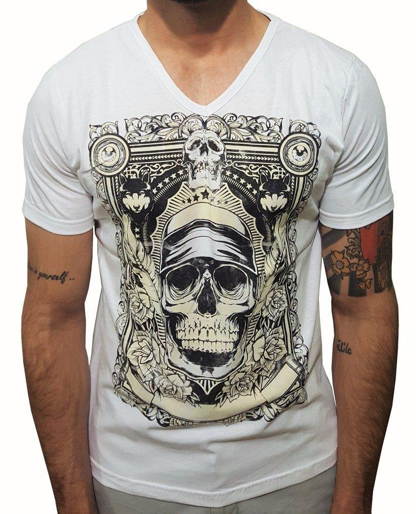 ec09e10e08 camiseta algodão gola v masculina estampada caveira. Carregando zoom.