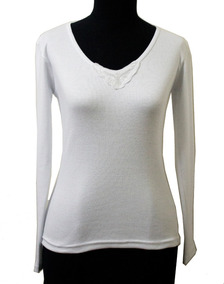 4f0ab039f246 Camiseta Algodón Lisa Con Aplique Manga Larga