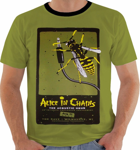 camiseta alice in chains concert poster live milwaukee m189