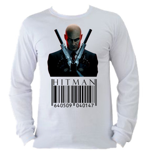 camiseta allsgeek adulto unissex manga longa hitman game 02