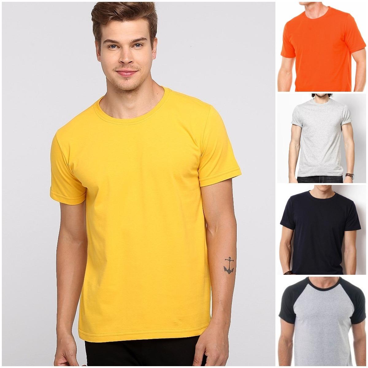 Camiseta Amarela De Algodão Lisa Básica Tradicional Camisa - R  19 ... 20cc84c308