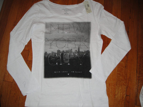 camiseta american eagle blanca manga larga medium ( 632 )
