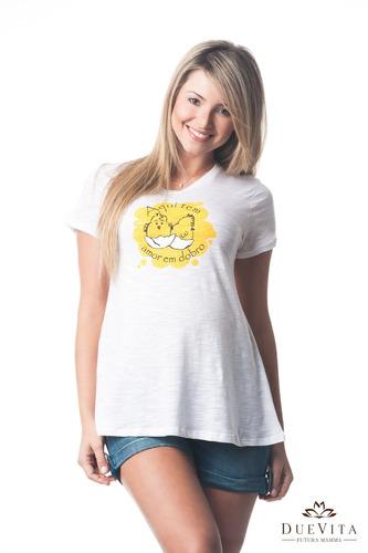 camiseta amor em dobro g/gg (44/46) - moda gestante due vita