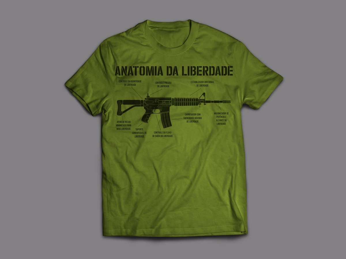 Camiseta Anatomia Da Liberdade - Pró-armas - Ar-15 - 3 Cores - R$ 45 ...