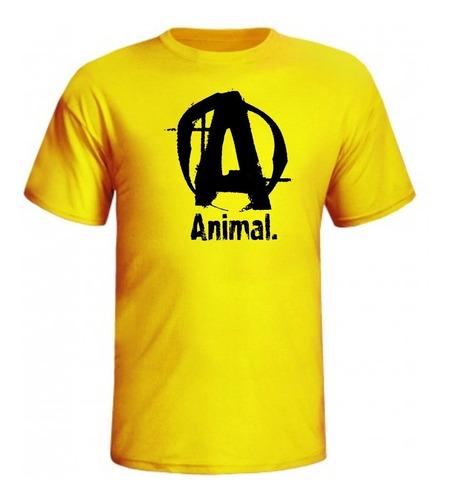 camiseta animal letra a  de musculação masculina