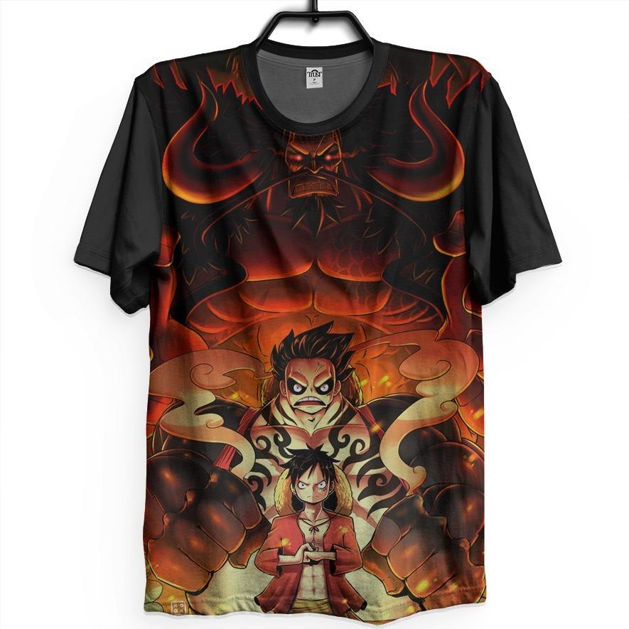 Camiseta Anime One Piece Monkey D Luffy Kaido Geek Otaku Hq