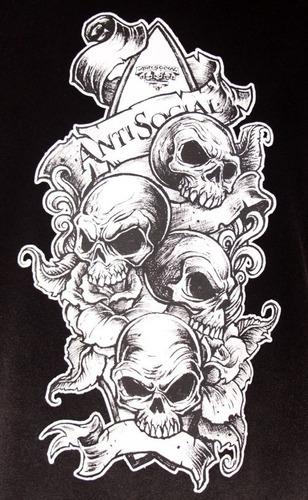 camiseta anti social skull faixas half stoned