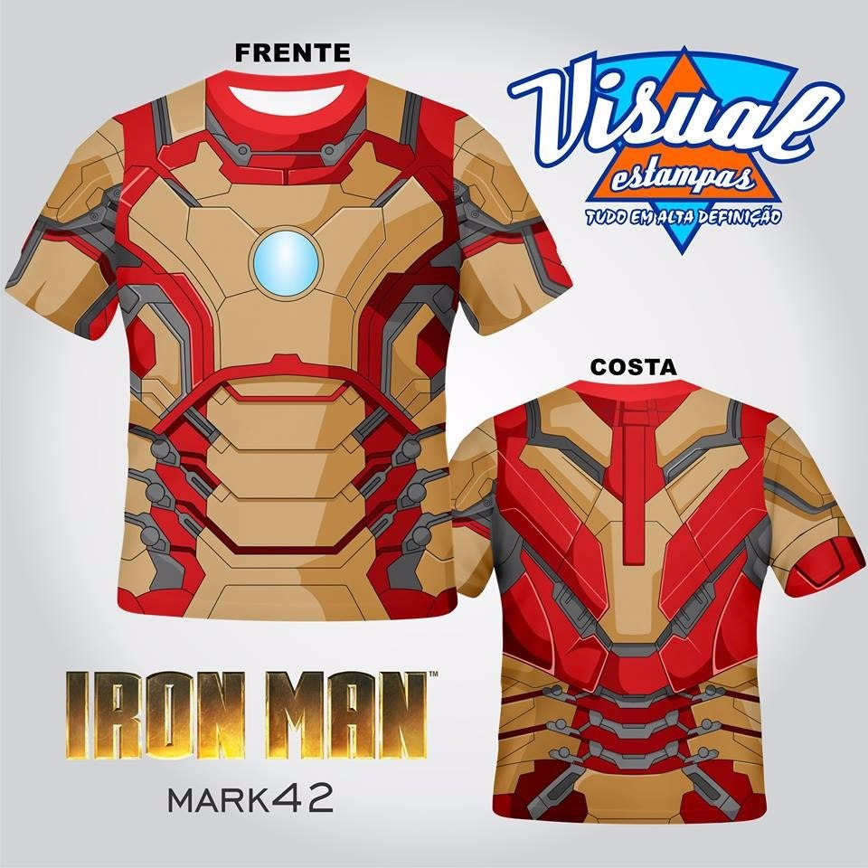 camiseta armadura iron man homem de ferro avengers 3d mark42. Carregando  zoom. f1e197c1a40a1