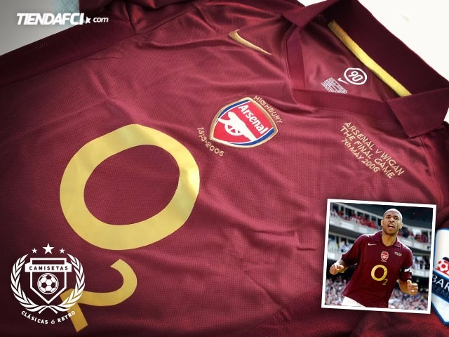 Camiseta Arsenal Henry 2006 Vinotinto Highbury Retro -   159.000 en ... 01f9587a95677