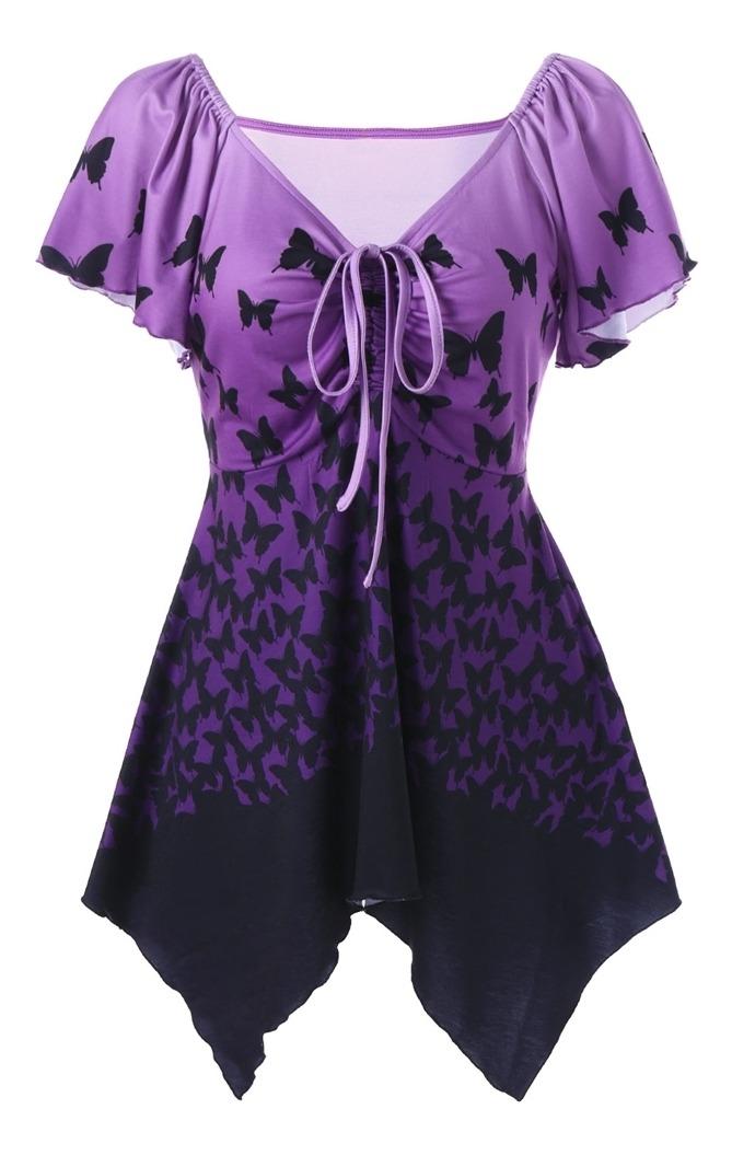migliori scarpe da ginnastica vendita usa online prezzo onesto Camiseta Asimétrica De Mariposa Con Cintura Imperial