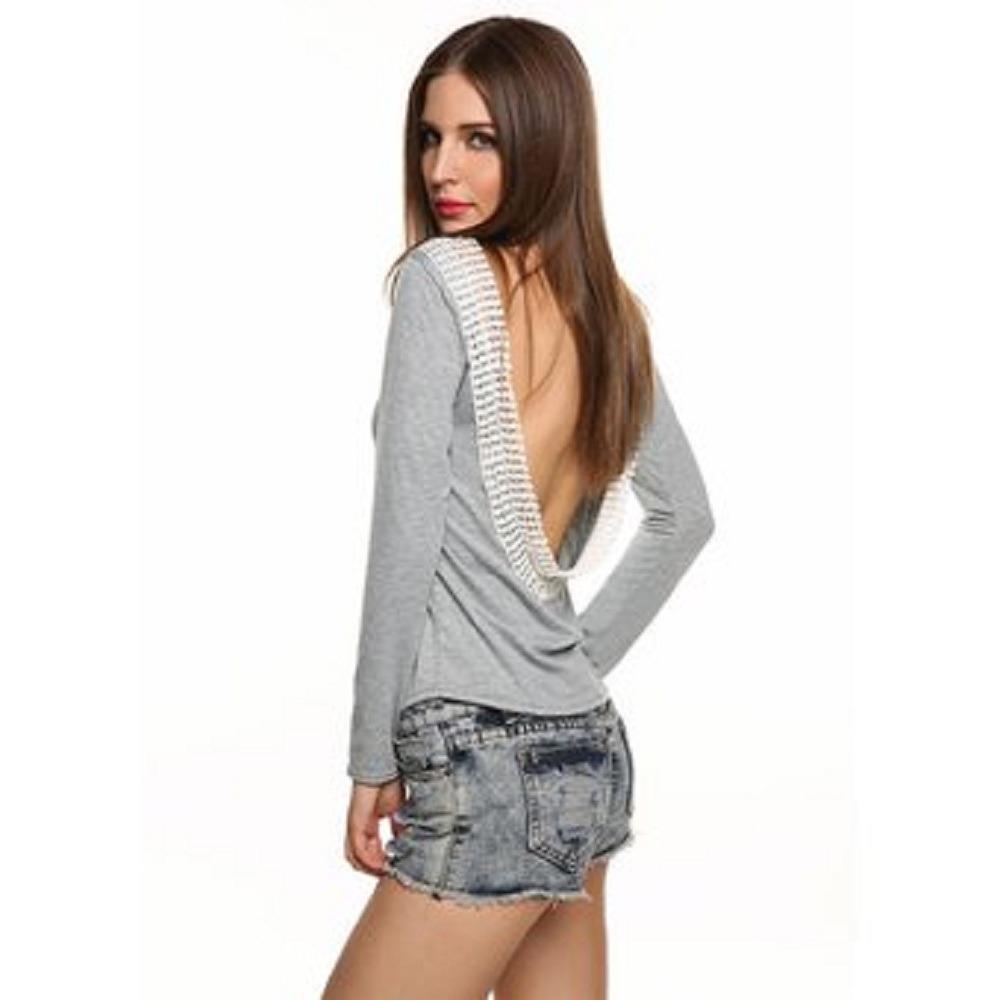 c3c9ea6a53 camiseta atractiva de la manga larga del cordón para mujeres. Cargando zoom.