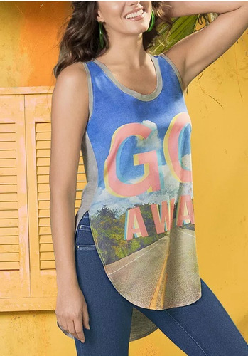 camiseta azul escote redondo andrea 1281453