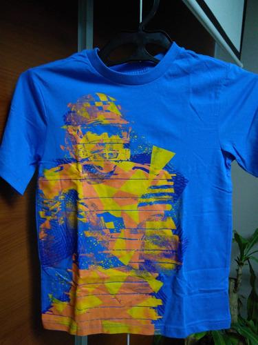 camiseta azul talla m 7/8 $