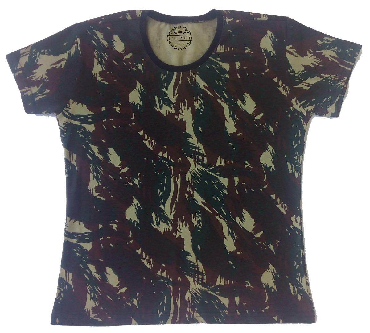 camiseta baby look camuflada algodão lisa blusinha feminina. Carregando  zoom. c3b62f8dcb9