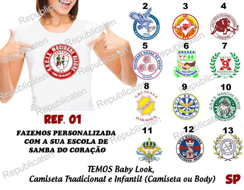 camiseta baby look carnaval escolas de samba tom maior