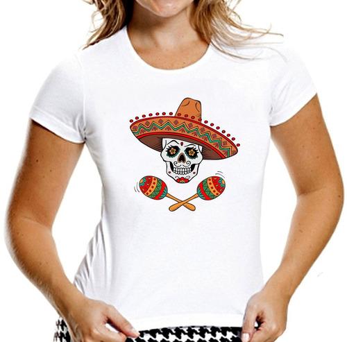 camiseta baby look caveiras mexicanas sugar skull mod 15