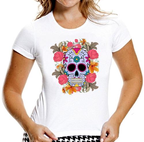 camiseta baby look caveiras mexicanas sugar skull mod 9