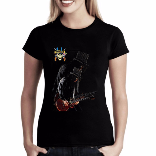 camiseta baby look feminina gun´s n roses slash caveira