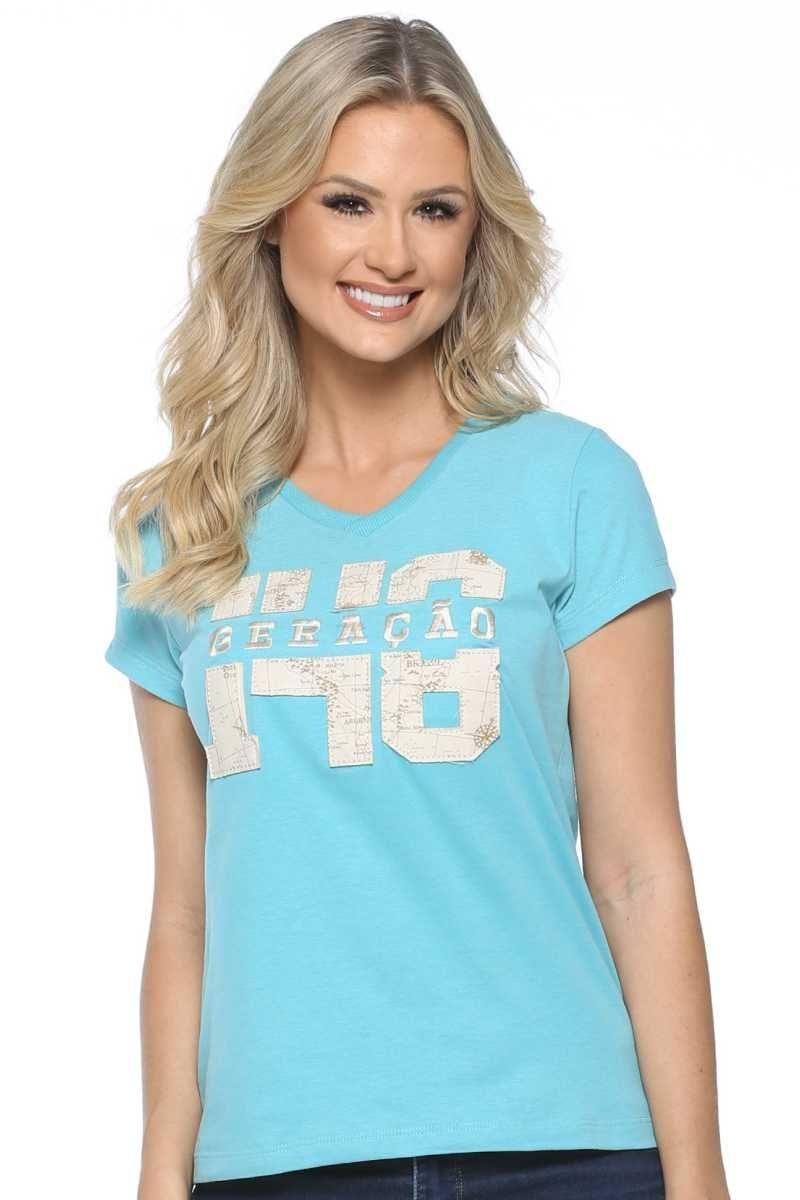 316af81b4 camiseta baby look geração 148 2018 azul. Carregando zoom.
