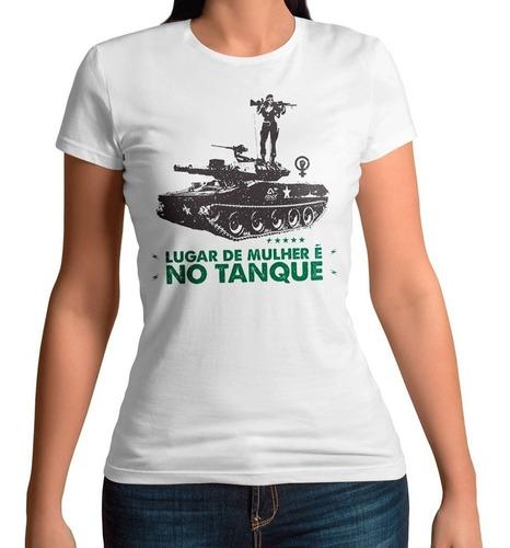 camiseta baby look lugar de mulher é no tanque - atack