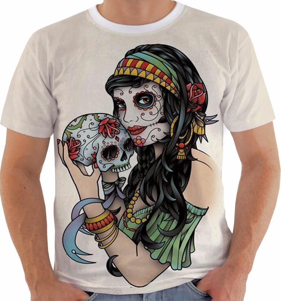 8639433dc9224 camiseta baby look regata caveira mexicana mulher floral cor. Carregando  zoom.