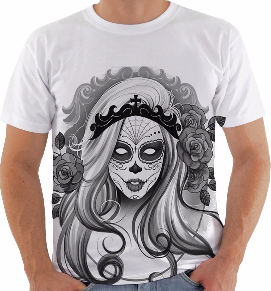 e85a8a4573013 camiseta baby look regata caveira mexicana mulher floral pb. Carregando  zoom.