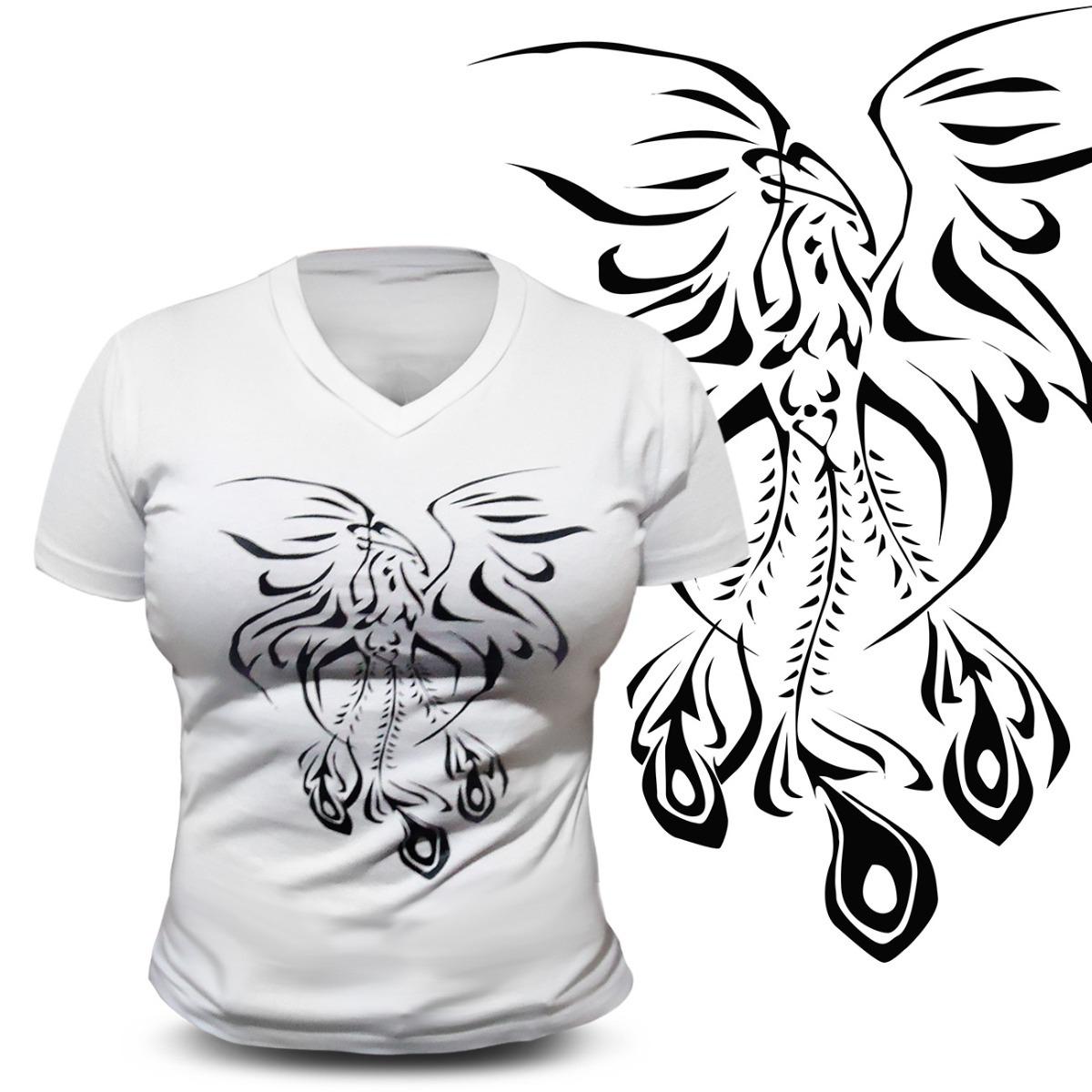 Camiseta Baby Look Wild Wolf Branco Estampa Fenix Preto R 49 99