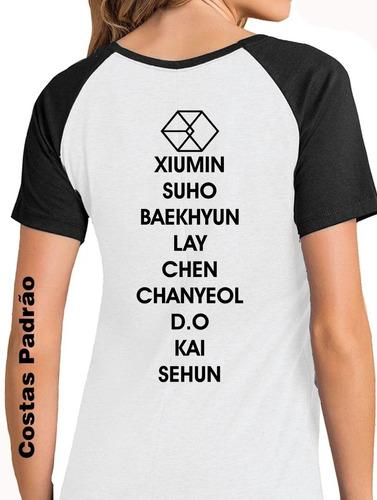 camiseta babylook exo camisa costas com integrantes blusa572