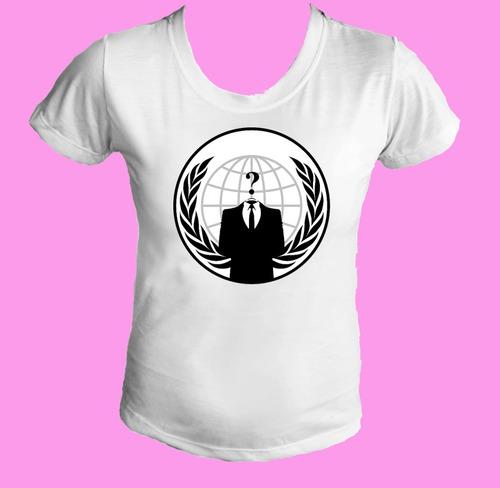 camiseta babylook feminina anonimos anonymous
