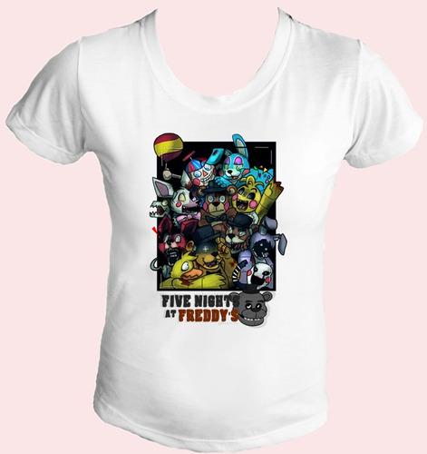 camiseta babylook five night at freddy jogo terror horror 24