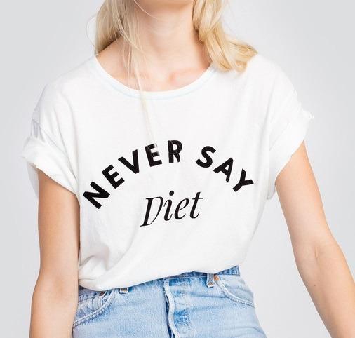 Camiseta Babylook Nunca Diga Dieta Blusa Frase Inglês Tumblr - R  36 ... e11899e77ca