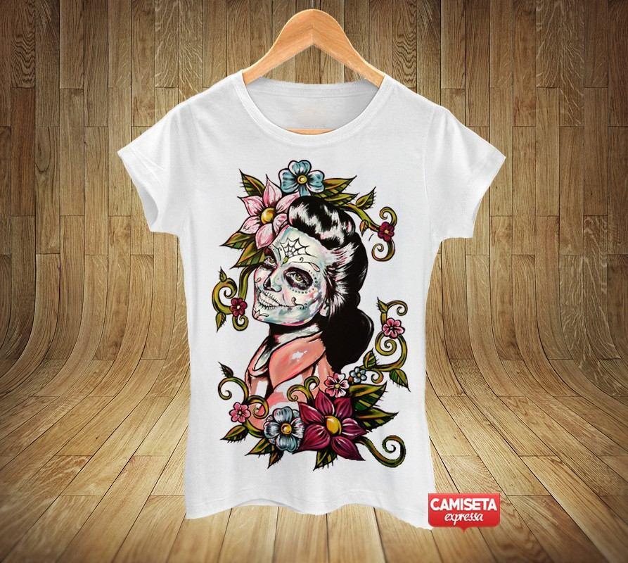 5ae61ccef Camiseta Babylook Santa Muerte Caveira Mexicana Sugar Skull - R  32 ...