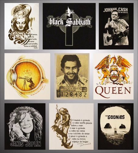 camiseta bandas filmes black sabbath cash joplin queen