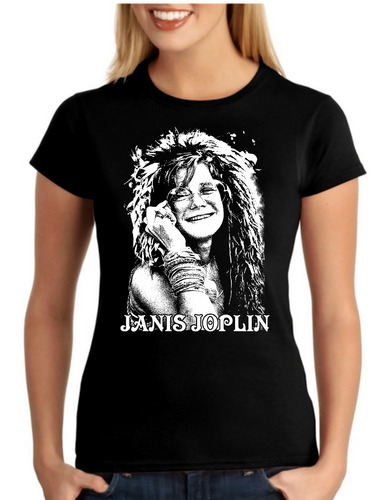 camiseta bandas rock janis joplin baby look feminina