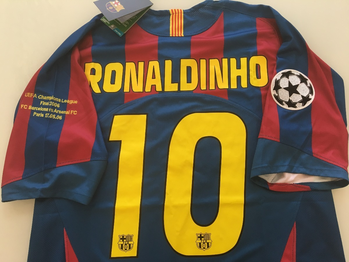 0fce1ef3d5b17 Camiseta Barcelona -  10 Ronaldinho - Final Champions 2006 - R  339 ...