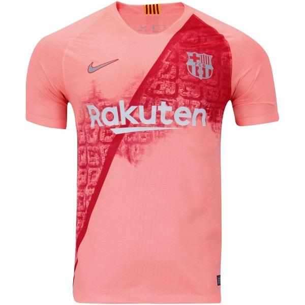 Camiseta Barcelona Terceira Camisa Oficial Rosa 2018 Oficial - R ... 4f7d2f5c3e01d