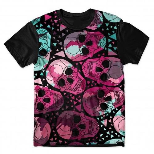 camiseta básica 3d full unissex roupa caveiras psicodélicas