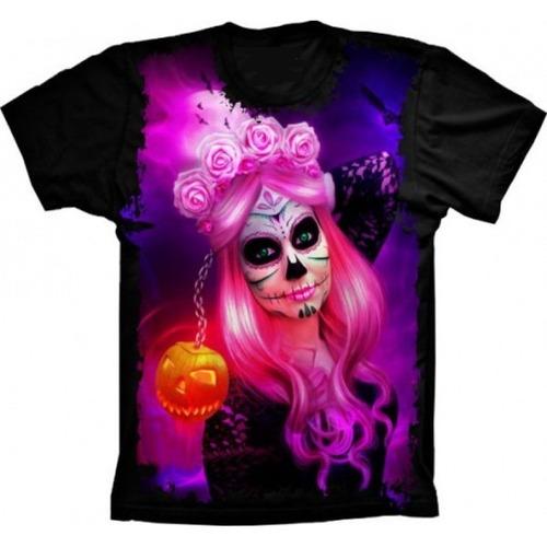 camiseta básica 3d full unissex roupa la catrina psicodélica