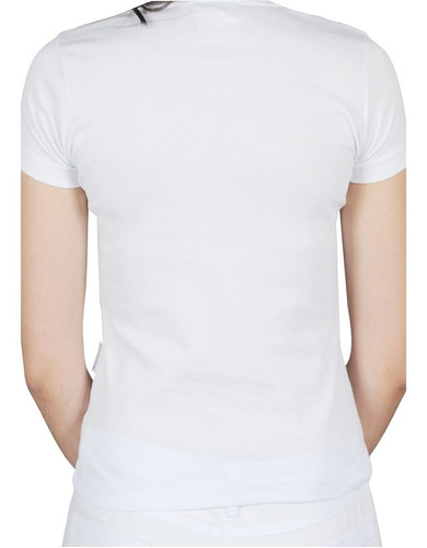camiseta básica feminina branca gola v canelada bu11