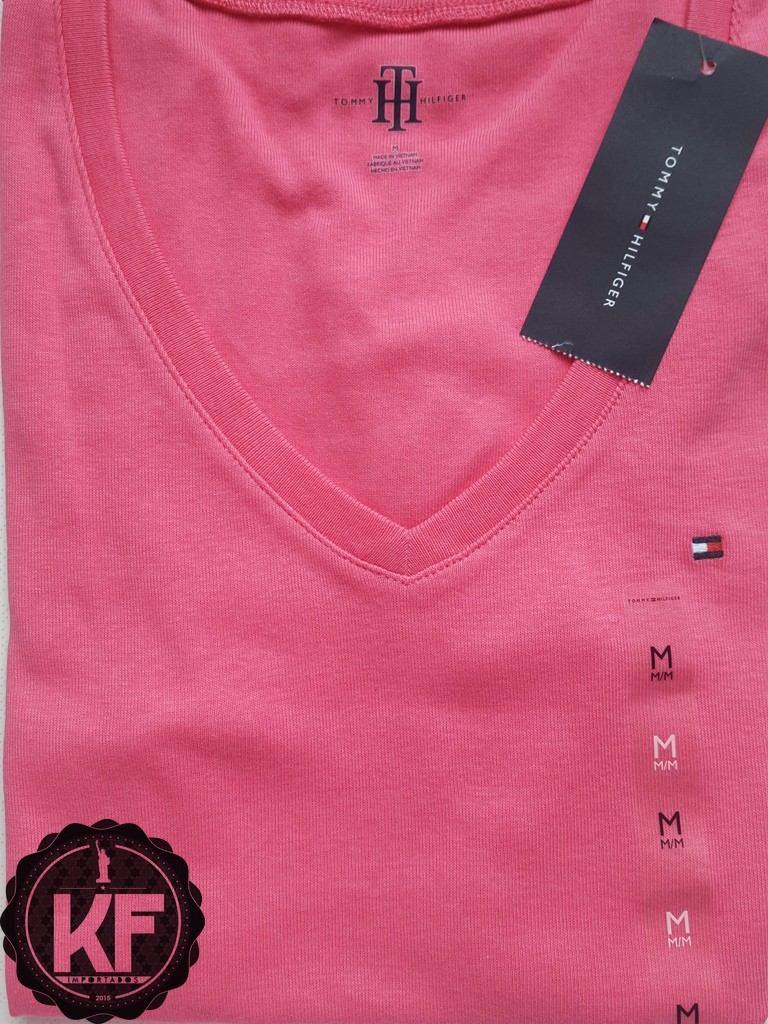 8240ad2741 camiseta básica gola v tommy hilfiger original - feminina. Carregando zoom.