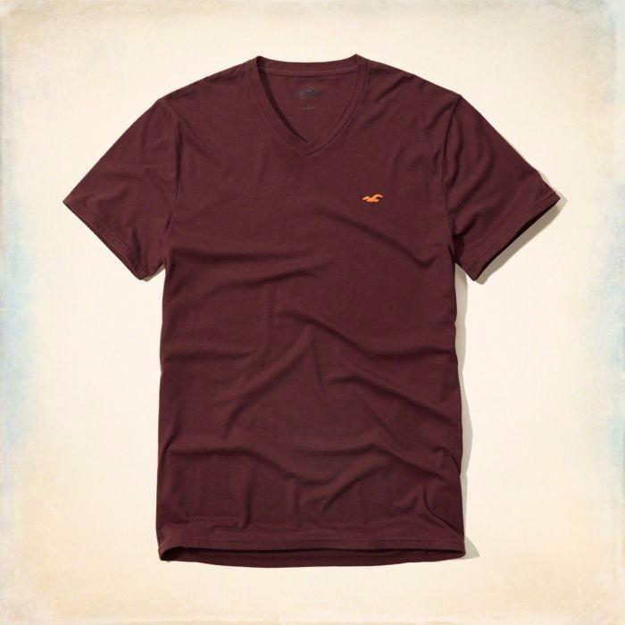 6f495c4c2 Camiseta Basica Hollister Vermelha Vinho Masculina Original - R  128 ...