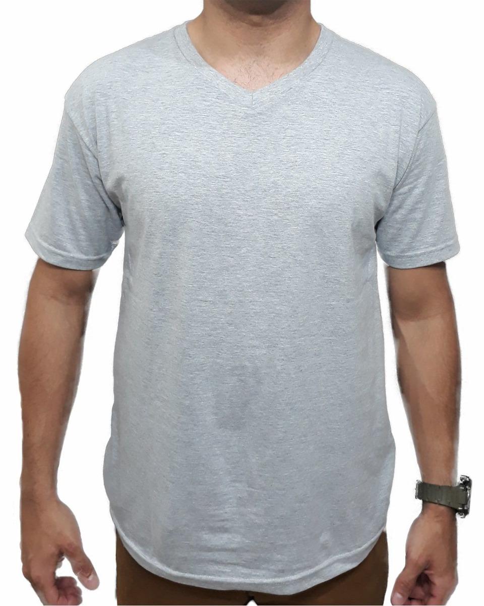 c079d57a13 camiseta básica lisa cinza gola v top qualidade 100% algodão. Carregando  zoom.