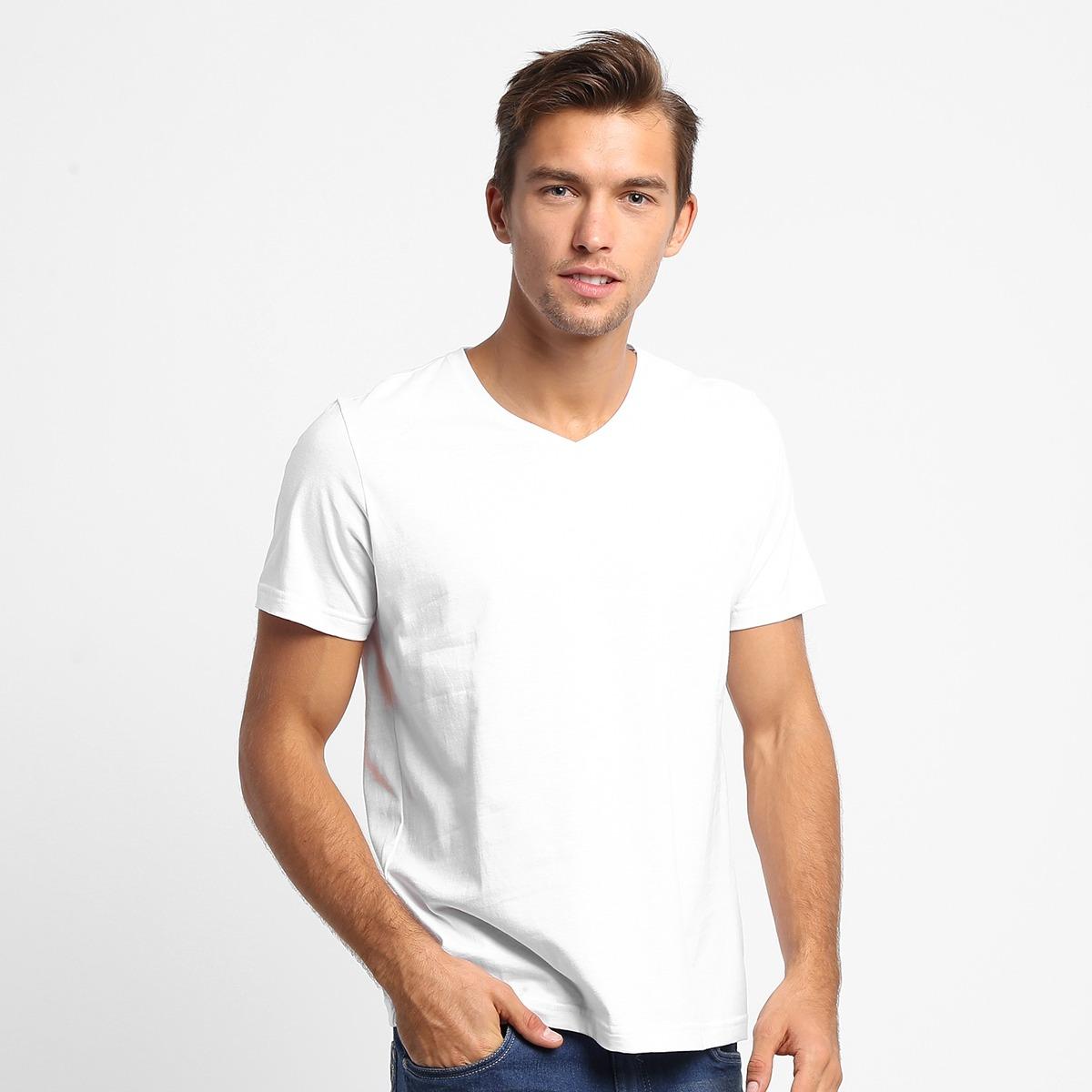 fdd4266c3 Camiseta Básica Masculina Gola V 100% Algodão Kohmar - R$ 25,90 em ...