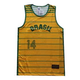 Camiseta Basquete Brasil Oscar Schmidt 14 Pan Braziline